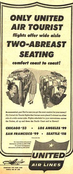 Vintage United Air Lines Ad - 1953