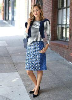 mary orton stripes blouse floral midi skirt street style