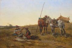 Tadeusz RYBKOWSKI ,Odpoczynek kozaków na stepie, 1886 , olej, deska, 26 x 39,5 cm