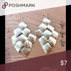 Gold chandelier earrings Large brushed gold tone earrings💕Buy one jewelry item get the second one 1/2 off 💕 Jewelry Earrings