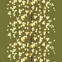 Lumimarja fabric, khaki green  by Marimekko