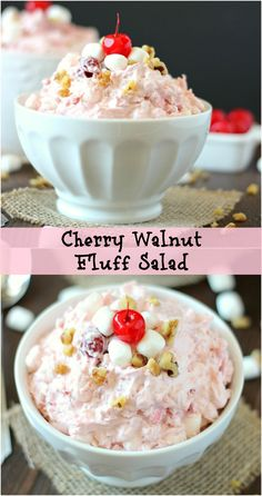 Cherry Walnut Fluff Salad ~ Easy and quick cherry fruit salad. Perfect for all occasions. Fluff Desserts, Easy Desserts, Delicious Desserts, Yummy Food, Chocolate Desserts, Dessert Salads, Fruit Salad Recipes, Fruit Salads, Jello Salads