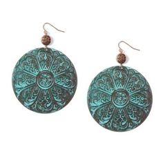 Antiqued+Copper+Large+Floral+Medallion+Drop+Earrings