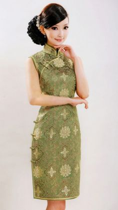 Green rich flower silk brocade Qipao SCT251 - Custom-made Cheongsam,Chinese clothes, Qipao, Chinese Dresses, chinese clothing,EFU Tailor Shop