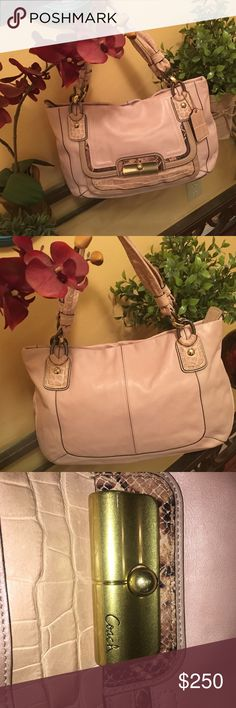 Coach Kristin Spectator Huge beautiful coach bag. Actively had to search for flaws and only spot found was minimal scratching on front plate ( see photo ). Interior perfect on full size compartment and front pocket. Actually bought two and my sister decided on a smaller bag. Trade value 400. Coach Bags