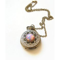 Pink Fire Opal Pocket watch Locket style Necklace--Mother's Day Gift ($55) ❤ liked on Polyvore