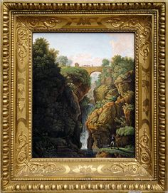 Micromosaic landscape waterfall picture in wooden gold gilt frame...