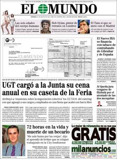 Los Titulares y Portadas de Noticias Destacadas Españolas del 25 de Agosto de 2013 del Diario El Mundo ¿Que le pareció esta Portada de este Diario Español?