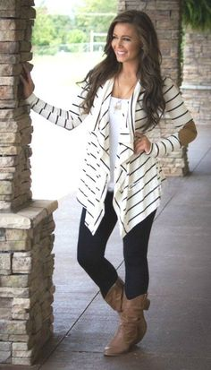 Beautiful 13 SUMMER OUTFIT IDEAS WITH A LONG STRIPED CARDIGAN Look Fashion, Fashion Outfits, Womens Fashion, Fashion Trends, Tween Fashion, Ladies Fashion, Fall Fashion, Fashion Shops, Fashion Lookbook