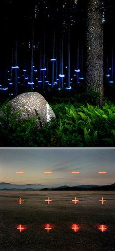Barry Underwoodfotografa misteriosas instalações de luz que ele implementa em florestas, montanhas, rios, etc.