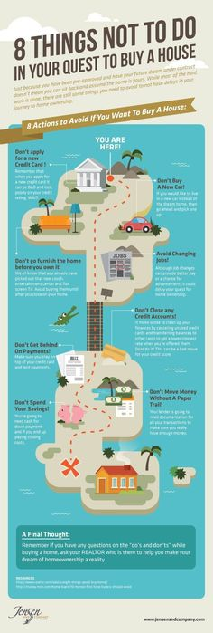 8 Things Not to Do When Home Buying - House Buying Process - Ideas of House Buying Process - Learn what actions you should not do when buying a home. This infographic shares the top tips of what not to do when buying a home. Real Estate Buyers, Real Estate Business, Real Estate Tips, Real Estate Marketing, Real Estate Articles, Home Buying Tips, Buying Your First Home, Home Buying Process, Home Tips