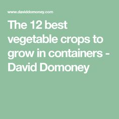 The 12 best vegetable crops to grow in containers - David Domoney