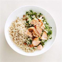 Salmon and Rice Salad with Cucumber 300. But I might take out the rice to save on calories
