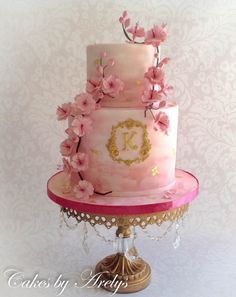 Birthday cake hand painted in watercolor effect with cherry blossoms sugar flowers and edible gold leaf