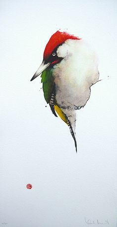 Karl Mårtens - Green Woodpecker - watercolor Anna housewright page Watercolor Artists, Watercolor Animals, Watercolor And Ink, Watercolor Paintings, Watercolours, Drawn Art, Wildlife Art, Art Plastique, Bird Art