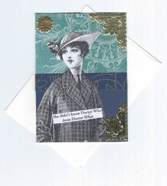Geeky Small Note Card Vintage Style Mixed Media Art by rhodyart
