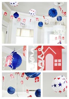Decorating ideas for a house party - recycled 4th of July hangings with hand crafted paper houses