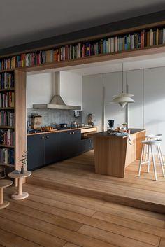 Farmhouse White Kitchen open concept Living room Farmhouse White Kitchen open co Home Design, Küchen Design, Home Interior Design, Layout Design, Interior Architecture, Modern Design, Concept Design Interior, Design Living Room, Living Room Decor