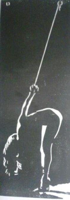 Waiting. (bound slave girl - suspension) Woodcut-blockprint 315X115mm.