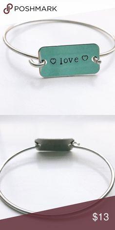 ❤️love❤️ silver bangle bracelet. Hand stamped. Hand stamped bracelet. Hand stamped by me! 😊❤️ Jewelry Bracelets
