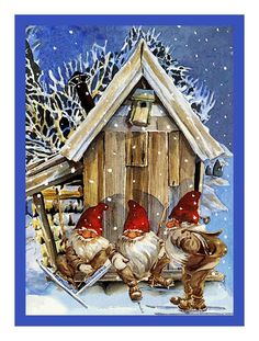 Elves Gnomes Skiing Jenny Nystrom Holiday Christmas Counted Cross Stitch or Counted Needlepoint Pattern Christmas Scenes, Christmas Gnome, Christmas Pictures, Christmas Crafts, Illustration Noel, Christmas Illustration, Swedish Christmas, Scandinavian Christmas, Vintage Christmas Cards