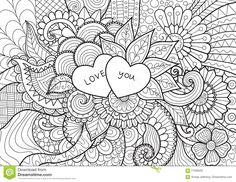 Dos Corazones Que Ponen En Las Flores Para El Libro De Colorear, Las Tarjetas Y El Fondo Ilustración del Vector - Imagen: 71038526
