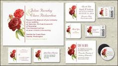Introduce your wedding with this white bright design and red roses invitation! The red damask roses and white background look very beautiful on the metallic paper type . Wedding Stationery, Wedding Invitations, Red Rose Wedding, Wedding Paper, Wedding Designs, Red Roses, Place Card Holders, Rsvp Postcards, Party