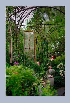 #pintowin Repurposed window adds a nice touch to this old gazebo.