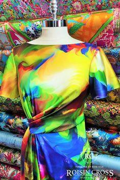 Printed Silk Satin Short Sleeved Dress made at Roisin Cross Silks Dublin Day Dresses, Summer Dresses, Short Sleeve Dresses, Dresses With Sleeves, Satin Shorts, Dress Making Patterns, Sleeved Dress, Printed Silk, Ladies Day