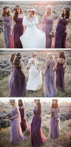 Halter Bridesmaid Dresses Long, Purple Bridesmaid Dress 2018, Modest Wedding Party Dresses Popular