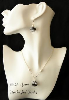 Houndstooth Dangle Globe Crochet Necklace made with by ZoZosSpace, $45.00