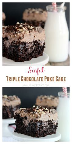 The Best Ever Sinful Triple Chocolate Poke Cake. Chocolate cake soaked in fudge and chocolate pudding with a hot chocolate whipped cream!