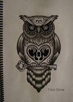 Afbeeldingsresultaat voor old school owl tattoo