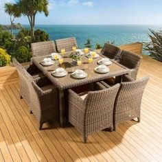 Rattan Garden / Outdoor Dining Set Square Table + 8 Large Chairs Mocha