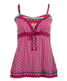 Fuchsia & Blue Geo Shirred-Back Camisole