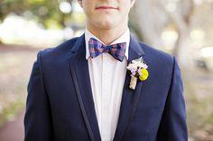 Gentleman & Scholar Blue Plaid Bow Tie.  Image by Angela Higgins Photography.