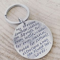 Hand Stamped Keyring Quote Graduation Gift Daughter 21st Birthday