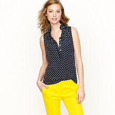 Silk Naomi top in polka dot -  Should work for any season