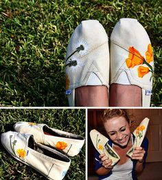 California poppies on shoes? Fashion Now, Funky Fashion, Fashion Beauty, Fashion Tips, Fashion Shoes, Toms Shoes Outlet, Prom Dresses 2015, Dress Link, Soft Summer