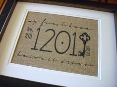 My First Home Address Plaque Burlap Housewarming by giftree