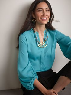 Shop Chico's for the latest styles in women's clothing including missy, petite and tall, jewelry & accessories. Cerulean, Periwinkle, Chicos Jewelry, Teal, Turquoise, Trendy Tops, Office Outfits, Fashion Outfits, Fashion Clothes
