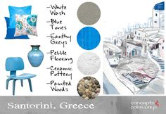 Travel Inspired {Santorini, Greece}..........Concept Board Images: Floral Pillow Cover from ChloeandOliveDotCom on Etsy, Deep Blue Pillow Cover from Blooming Home Decor, Turquoise Pillow Cover from TheHomeCorner on Etsy, Flower Vase from DarshanPottery on Etsy, Fathom Lounge Chair from Modern Furniture Warehouse, Light Grey Linen Fabric from Online Fabric Store, Anatolia Pebbles from Solistone.