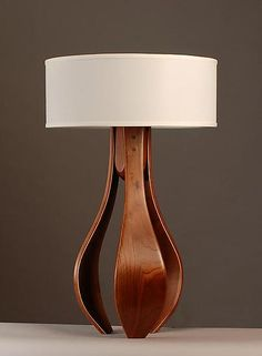 Chloe in walnut with white shade: Kyle Dallman: Wood Table Lamp Table Lamp Wood, Wooden Lamp, Wood Floor Lamp, White Table Lamp, Curved Wood, Table Top Design, Cool Lamps, Unique Lamps, Home And Deco