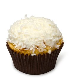 Coco Loco – Our decadent coconut cupcake topped with vanilla bean buttercream and rolled in soft tropical coconut shreds. We're crazy for coconut!