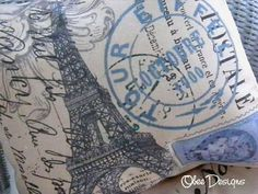 Parisian Postage Stamp Cancellation French EIFFEL by Obeedesigns, $32.00