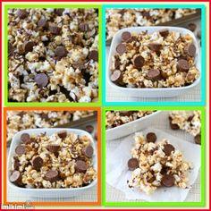 Pipoca de Manteiga com fioS de Chocolate e Amendoim:  8  xícaras de pipoca estaladas no microondas- sal  1/2 xícara de mel  1/3 xícara de açúcar granulado  1/2 xícara de manteiga de amendoim natural  1/2 colher de chá de essência de baunilha  chips de leite 1/2 xícara de chocolate derretida  1 1 / 2 xícaras manteiga de  Mini chocolates brancos com manteiga de amendoim
