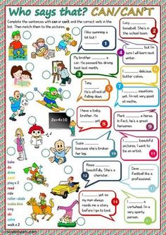 """- CAN / CAN""""T worksheet - Free ESL printable worksheets made by teachers English Time, English Verbs, Kids English, English Lessons, English Grammar, Teaching English, English Language, Learn English, Grammar And Vocabulary"""