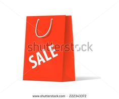 shoplifting red handbag on a white background - stock photo