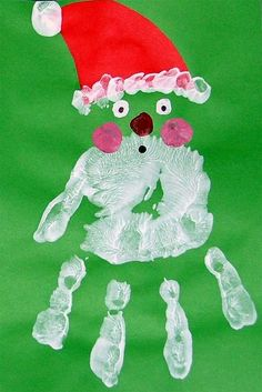 Handprint Santa Craft - We made these for our Christmas cards this year! Preschool Christmas, Christmas Activities, Christmas Crafts For Kids, Christmas Projects, Kids Christmas, Holiday Crafts, Holiday Fun, Merry Christmas, Kids Crafts