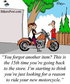 Sometimes on a bike, you have to make multiple trips to the store to get everything you need. Or you have to buy a car......lol, yeah right, buy a car! Now that's funny!